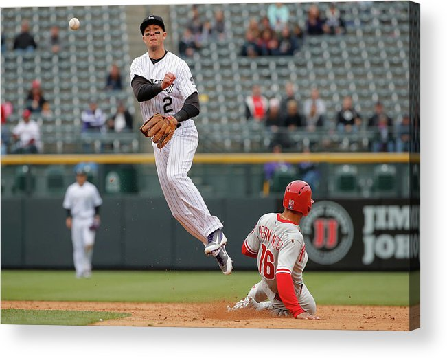 Double Play Acrylic Print featuring the photograph Troy Tulowitzki by Doug Pensinger
