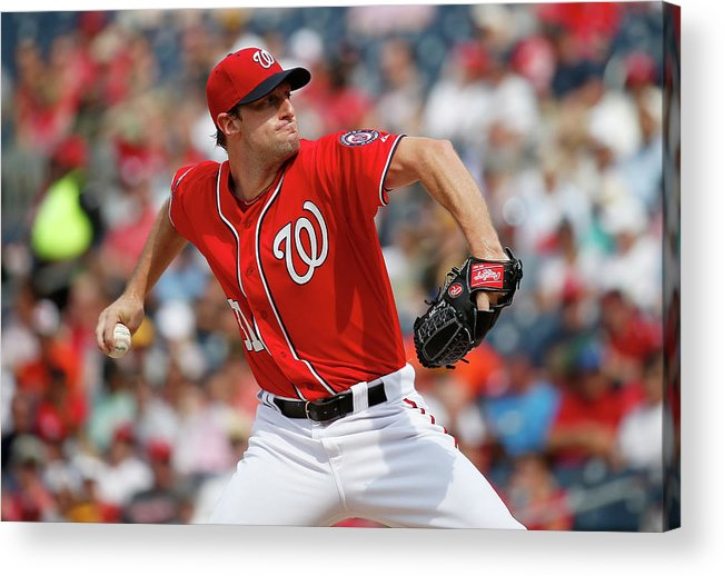 Three Quarter Length Acrylic Print featuring the photograph Max Scherzer by Rob Carr