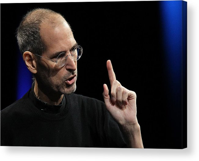 Corporate Business Acrylic Print featuring the photograph Steve Jobs Introduces iCloud Storage System At Apple's Worldwide Developers Conference by Justin Sullivan