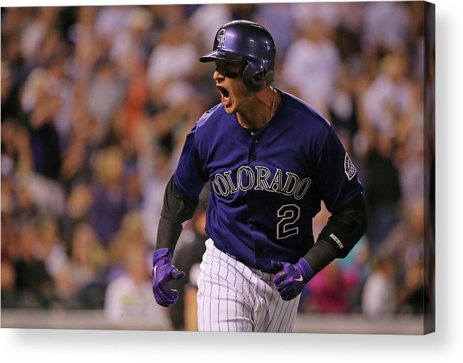 Game Two Acrylic Print featuring the photograph Troy Tulowitzki by Doug Pensinger