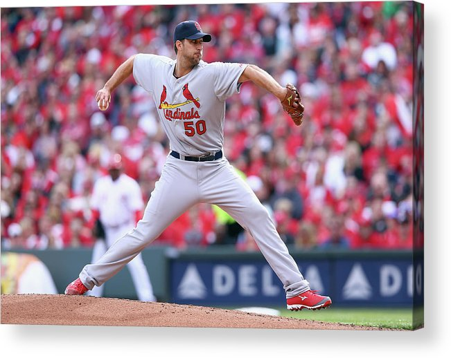 Great American Ball Park Acrylic Print featuring the photograph Adam Wainwright by Andy Lyons