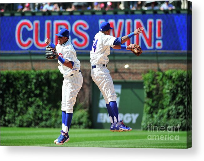People Acrylic Print featuring the photograph Addison Russell and Starlin Castro by David Banks