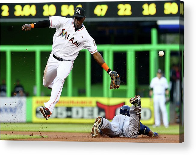 American League Baseball Acrylic Print featuring the photograph Adeiny Hechavarria and Jean Segura by Alex Trautwig