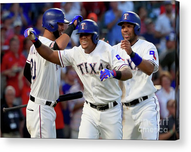 Adrian Beltre Acrylic Print featuring the photograph Adrian Beltre, Elvis Andrus, and Nomar Mazara by Tom Pennington