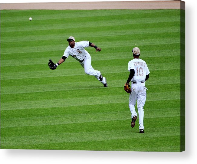 Alejandro De Aza Acrylic Print featuring the photograph Alejandro De Aza and Michael Brantley by David Banks