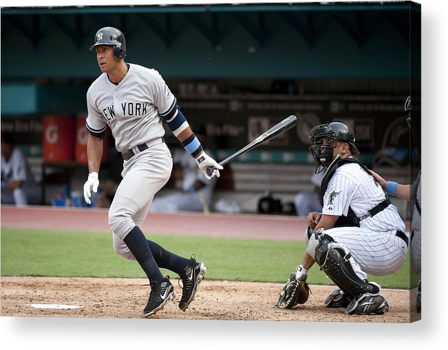 American League Baseball Acrylic Print featuring the photograph Alex Rodriguez by Ronald C. Modra/sports Imagery