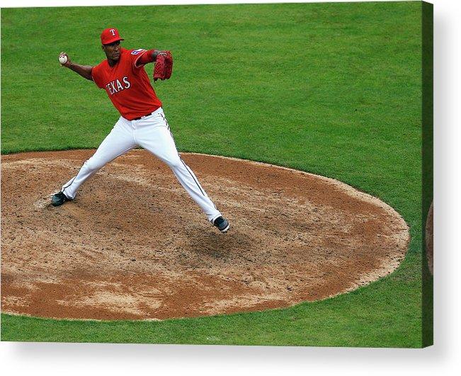 American League Baseball Acrylic Print featuring the photograph Alexi Ogando by Tom Pennington