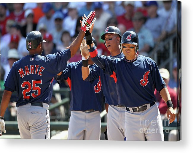 Anderson Hernández Acrylic Print featuring the photograph Andy Marte, Michael Brantley, and Shin-soo Choo by Christian Petersen