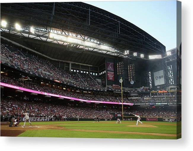 Baseball Pitcher Acrylic Print featuring the photograph Angel Pagan and Brandon Mccarthy by Christian Petersen