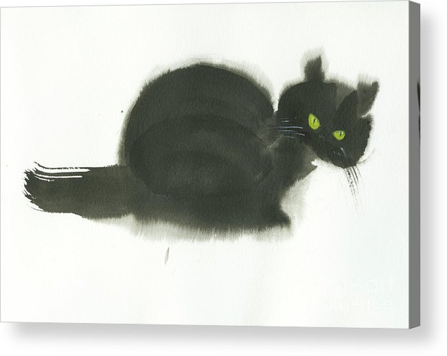 An Angry Cat With Green Eyes. This Is A Simple Contemporary Chinese Brush Painting On Rice Paper. Acrylic Print featuring the painting Angry Cat by Mui-Joo Wee