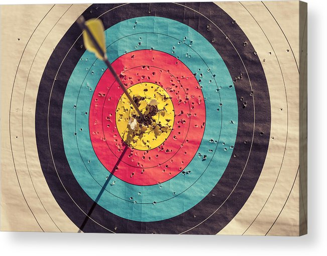 Shadow Acrylic Print featuring the photograph Archery target with arrow in the centre by Seb Oliver