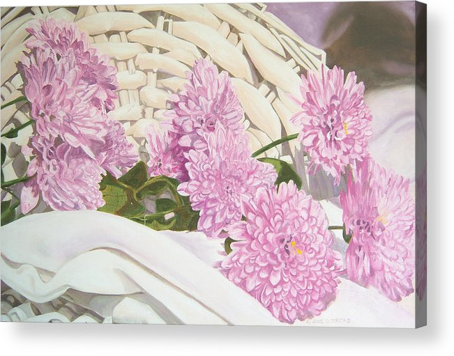 Fine Art Print Acrylic Print featuring the painting Floral Art Print For Sale Still Life Oil Painting by Diane Jorstad