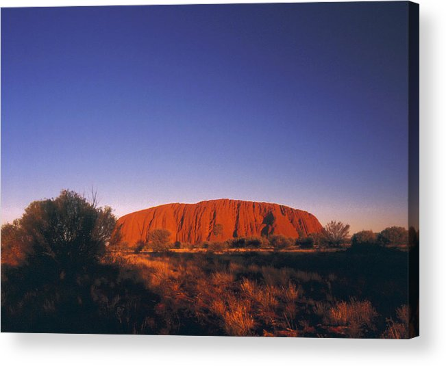Ayers Rock Acrylic Print featuring the photograph Ayers Rock at Sunset Uluru Nat. Park Northern Territory Australia by PIXELS XPOSED Ralph A Ledergerber Photography