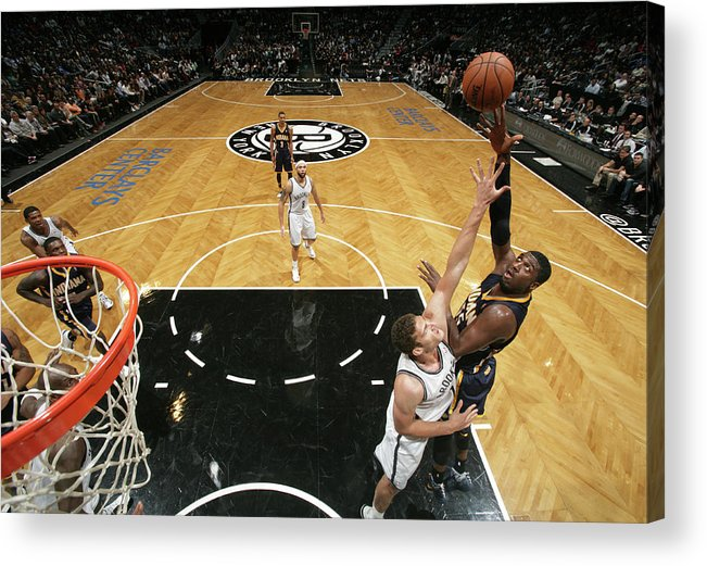 Nba Pro Basketball Acrylic Print featuring the photograph Brook Lopez and Roy Hibbert by Nathaniel S. Butler