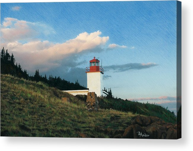Lighthouse Acrylic Print featuring the drawing Cape D'Or by Brent Ander