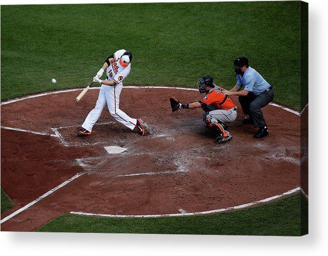 Baseball Catcher Acrylic Print featuring the photograph Chris Davis and Jason Castro by Rob Carr