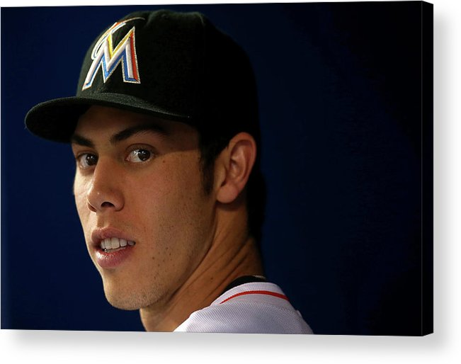 American League Baseball Acrylic Print featuring the photograph Christian Yelich by Mike Ehrmann