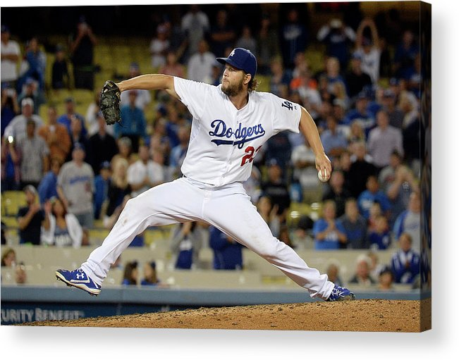 Clayton Kershaw Acrylic Print featuring the photograph Clayton Kershaw by Kevork Djansezian
