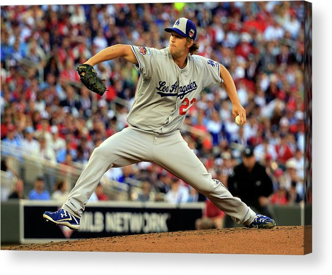 Clayton Kershaw Acrylic Print featuring the photograph Clayton Kershaw by Rob Carr