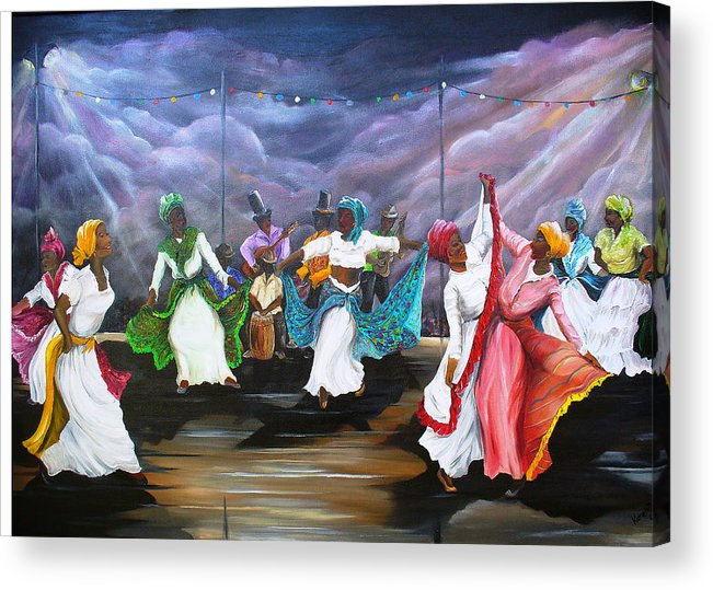 Caribbean Painting Original Painting Folklore Dance Painting Trinidad And Tobago Painting Dance Painting Tropical Painting Acrylic Print featuring the painting Dance The Pique by Karin Dawn Kelshall- Best