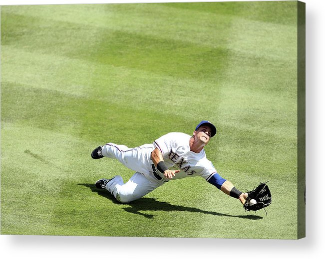 American League Baseball Acrylic Print featuring the photograph Daniel Robertson and Kole Calhoun by Rick Yeatts