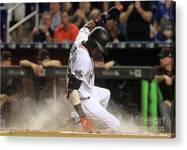 People Acrylic Print featuring the photograph Dee Gordon and Giancarlo Stanton by Mike Ehrmann