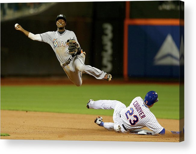 Double Play Acrylic Print featuring the photograph Dee Gordon and Michael Cuddyer by Elsa