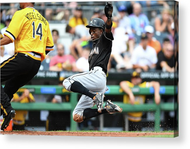 People Acrylic Print featuring the photograph Dee Gordon and Ryan Vogelsong by Joe Sargent