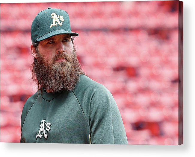 American League Baseball Acrylic Print featuring the photograph Derek Parks by Jim Rogash