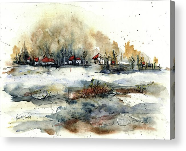 Rural Landscape Acrylic Print featuring the painting Distant Houses by Aniko Hencz