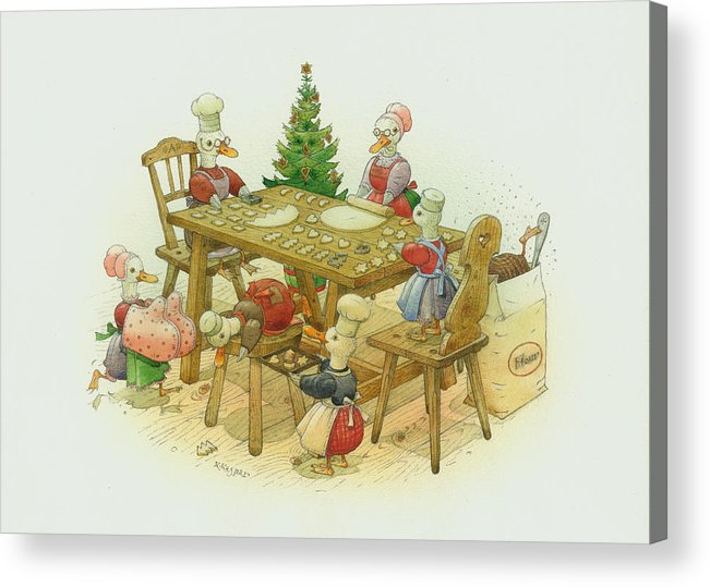 Christmas Duck Winter White Kitchen Holiday Acrylic Print featuring the painting Ducks Christmas by Kestutis Kasparavicius