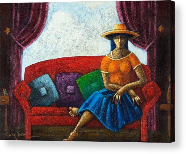Puerto Rico Acrylic Print featuring the painting El Ultimo Romance Del Verano by Oscar Ortiz