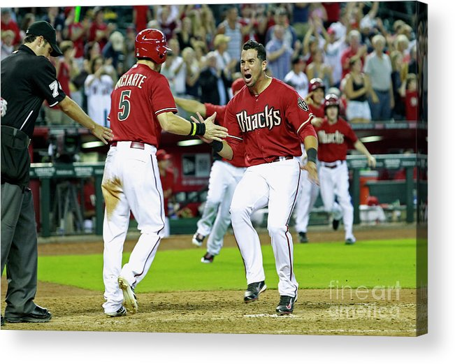 American League Baseball Acrylic Print featuring the photograph Ender Inciarte, David Peralta, and Paul Goldschmidt by Ralph Freso