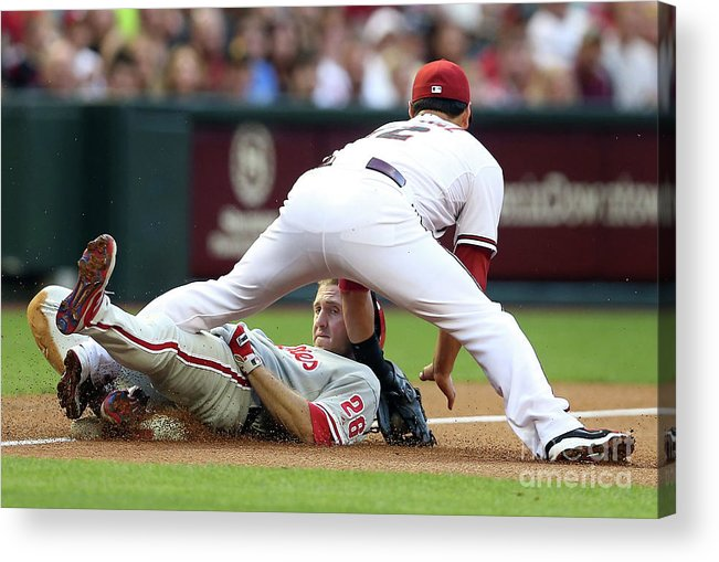 Eric Chavez Acrylic Print featuring the photograph Eric Chavez and Chase Utley by Christian Petersen