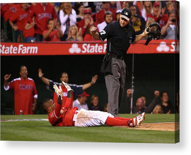 People Acrylic Print featuring the photograph Erick Aybar and Tyson Ross by Victor Decolongon