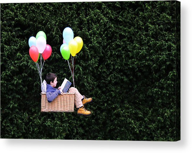 Child Acrylic Print featuring the photograph Flying with a good book by Natalia Crespo