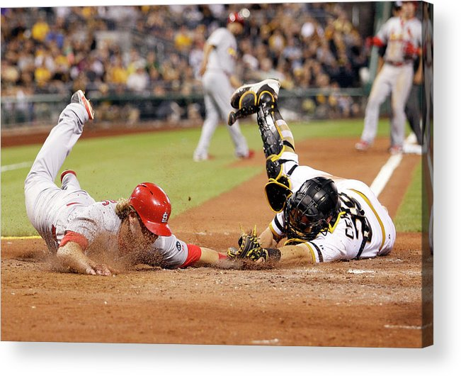 St. Louis Cardinals Acrylic Print featuring the photograph Francisco Cervelli and Mark Reynolds by Justin K. Aller