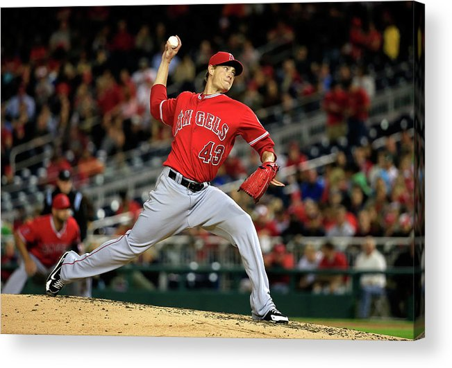 American League Baseball Acrylic Print featuring the photograph Garrett Richards by Rob Carr