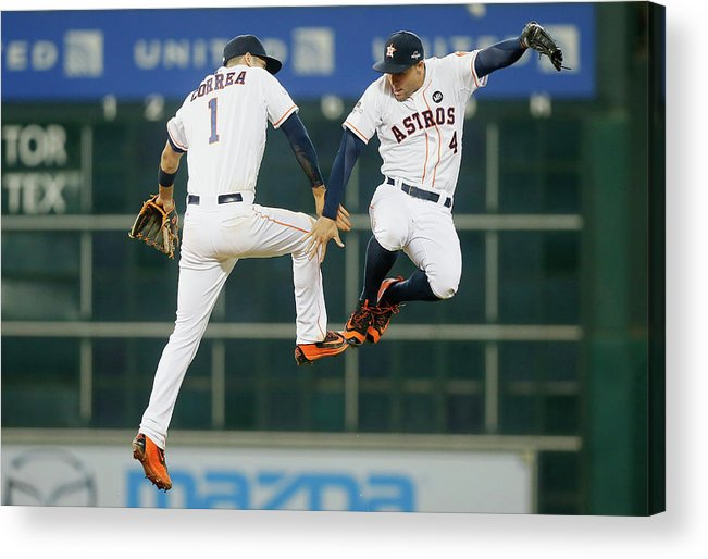 People Acrylic Print featuring the photograph George Springer and Carlos Correa by Bob Levey