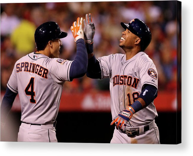 People Acrylic Print featuring the photograph George Springer and Luis Valbuena by Stephen Dunn