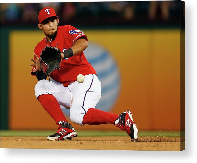 American League Baseball Acrylic Print featuring the photograph George Springer and Rougned Odor by Tom Pennington