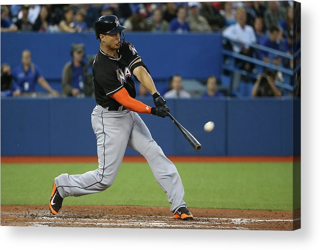 People Acrylic Print featuring the photograph Giancarlo Stanton by Tom Szczerbowski