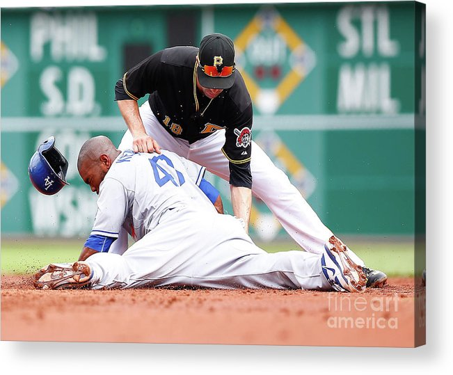 Second Inning Acrylic Print featuring the photograph Howie Kendrick and Neil Walker by Jared Wickerham