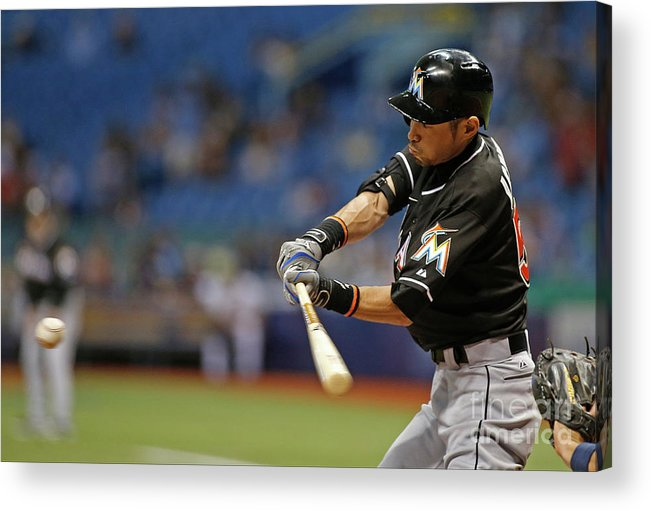 Three Quarter Length Acrylic Print featuring the photograph Ichiro Suzuki and Tim Beckham by Brian Blanco