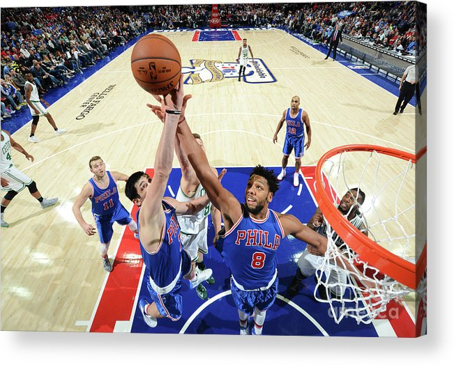 Nba Pro Basketball Acrylic Print featuring the photograph Jahlil Okafor and Ersan Ilyasova by Jesse D. Garrabrant