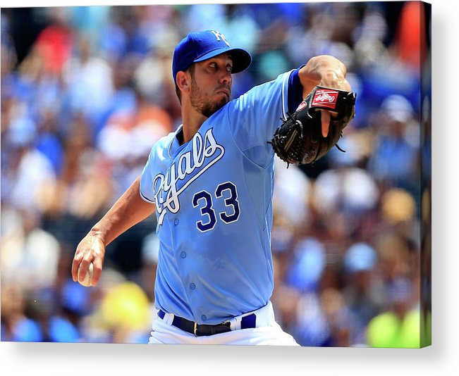American League Baseball Acrylic Print featuring the photograph James Shields by Jamie Squire