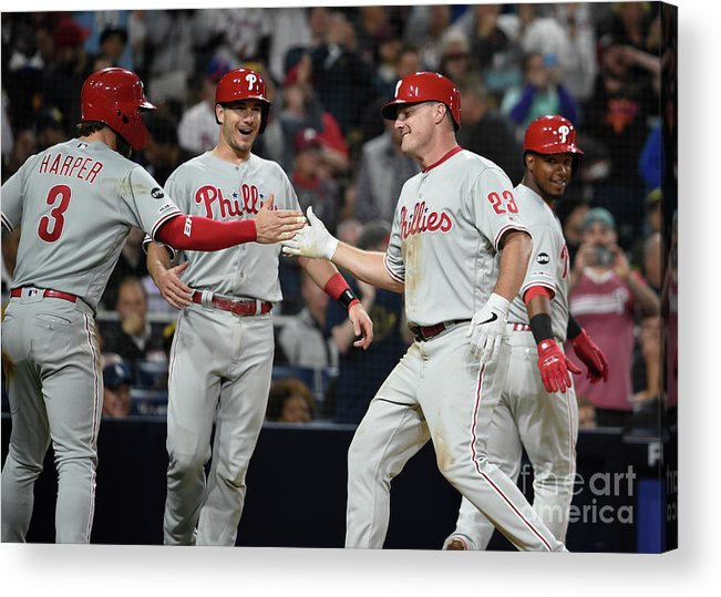 People Acrylic Print featuring the photograph Jean Segura, Bryce Harper, and Jay Bruce by Denis Poroy