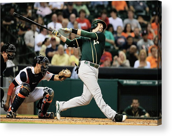 American League Baseball Acrylic Print featuring the photograph Jed Lowrie by Scott Halleran