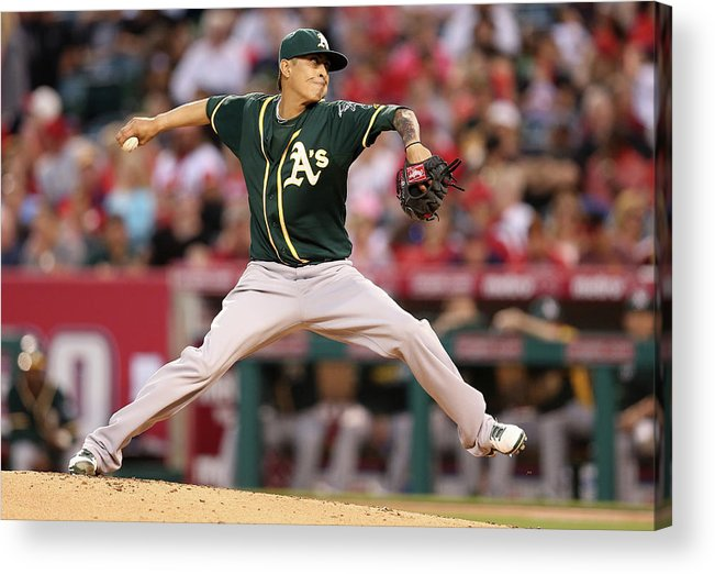 American League Baseball Acrylic Print featuring the photograph Jesse Chavez by Stephen Dunn