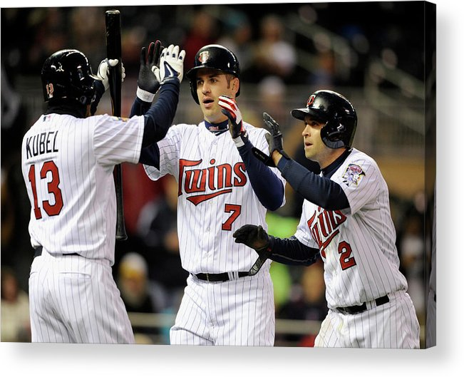 Game Two Acrylic Print featuring the photograph Joe Mauer, Jason Kubel, and Brian Dozier by Hannah Foslien